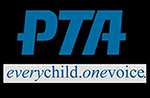 Black and blue PTA logo that says PTA, every child, one voice