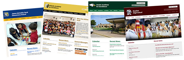 collage of school website homepages