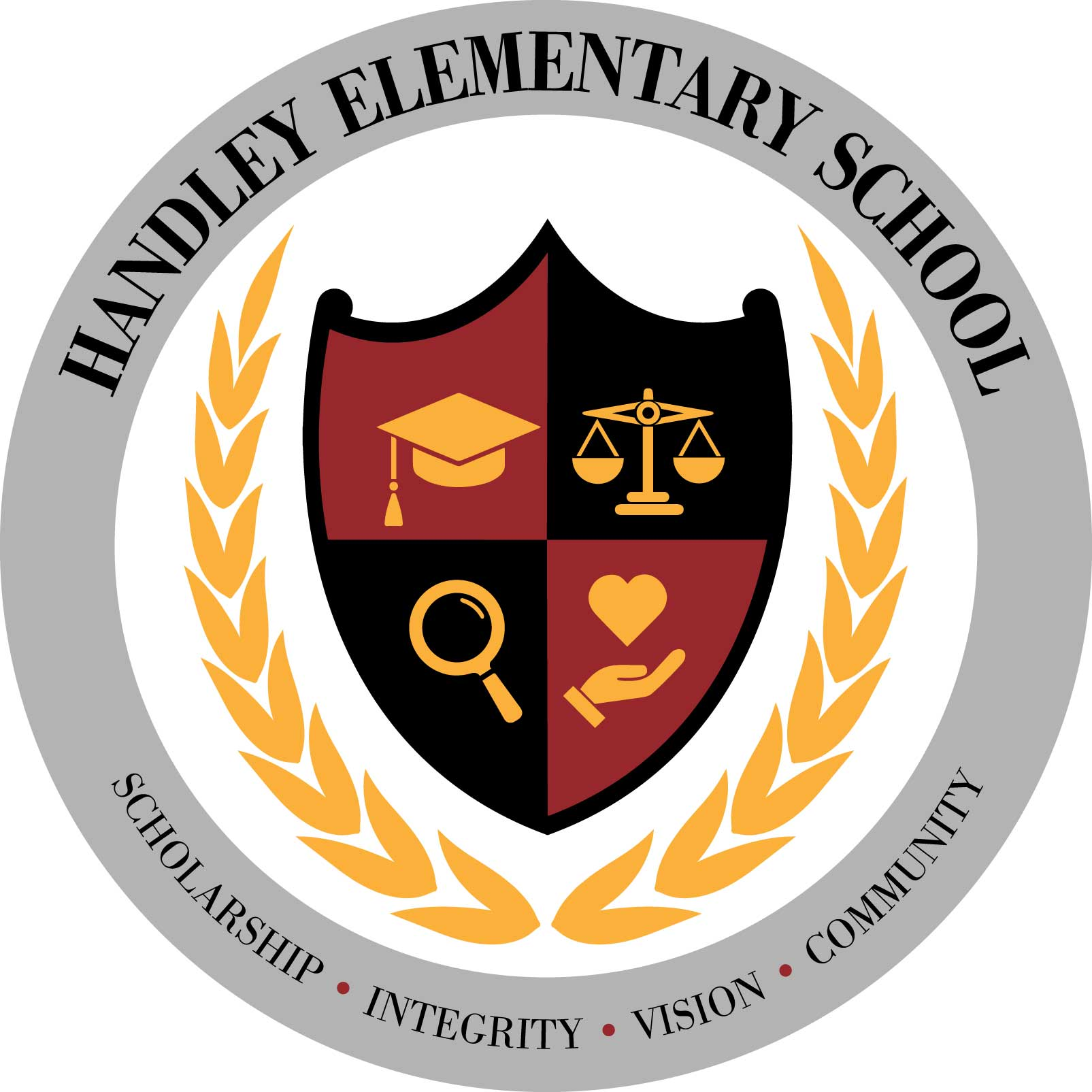 Handley crest Scholarship Integrity Vision Community