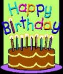 Clip art pic of a birthday cake with candles and background that says happy birthday