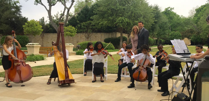 strings students playing for Tony Romo and wife