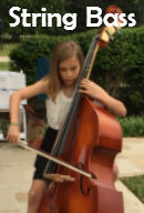 student playing string bass